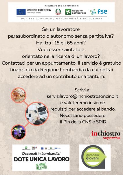 Sei disoccupato_ Hai tra i 15 e i 65 anni_ Vuoi essere aiutato e orientato nella ricerca di un lavoro_ Contattaci per un appuntamento, il servizio è gratuito finanziato da Regione Lombardia che riconosce a chi  (3).png